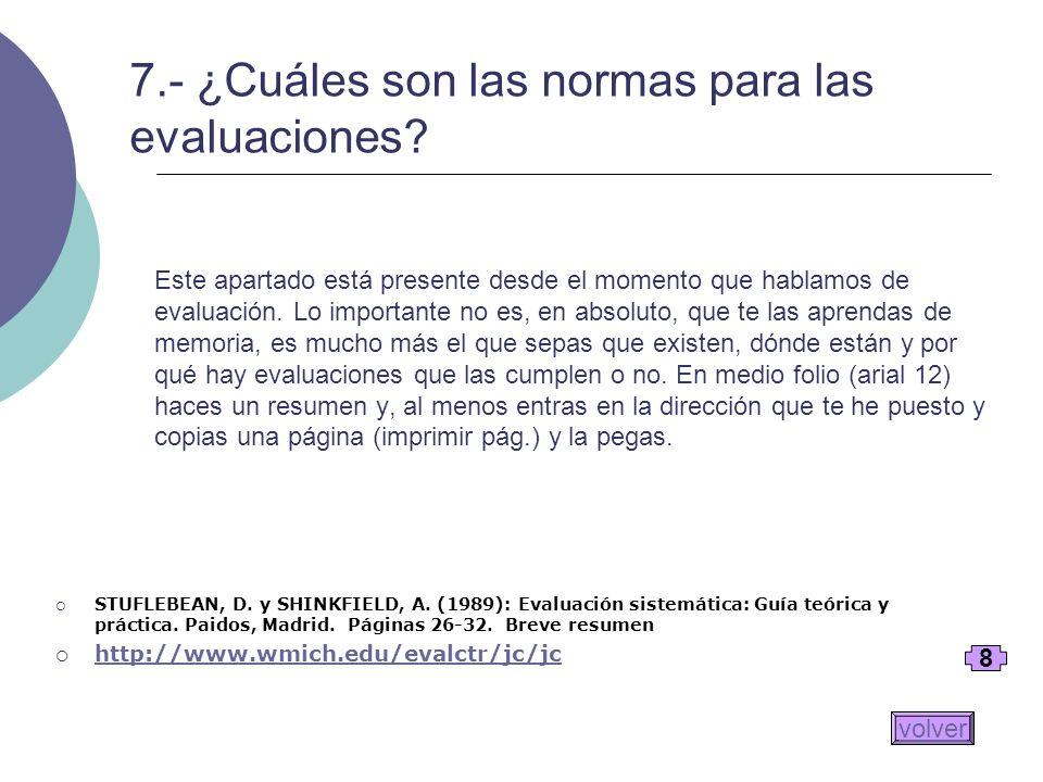 7.- ¿Cuáles son las normas para las evaluaciones