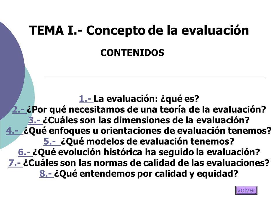 TEMA I.- Concepto de la evaluación