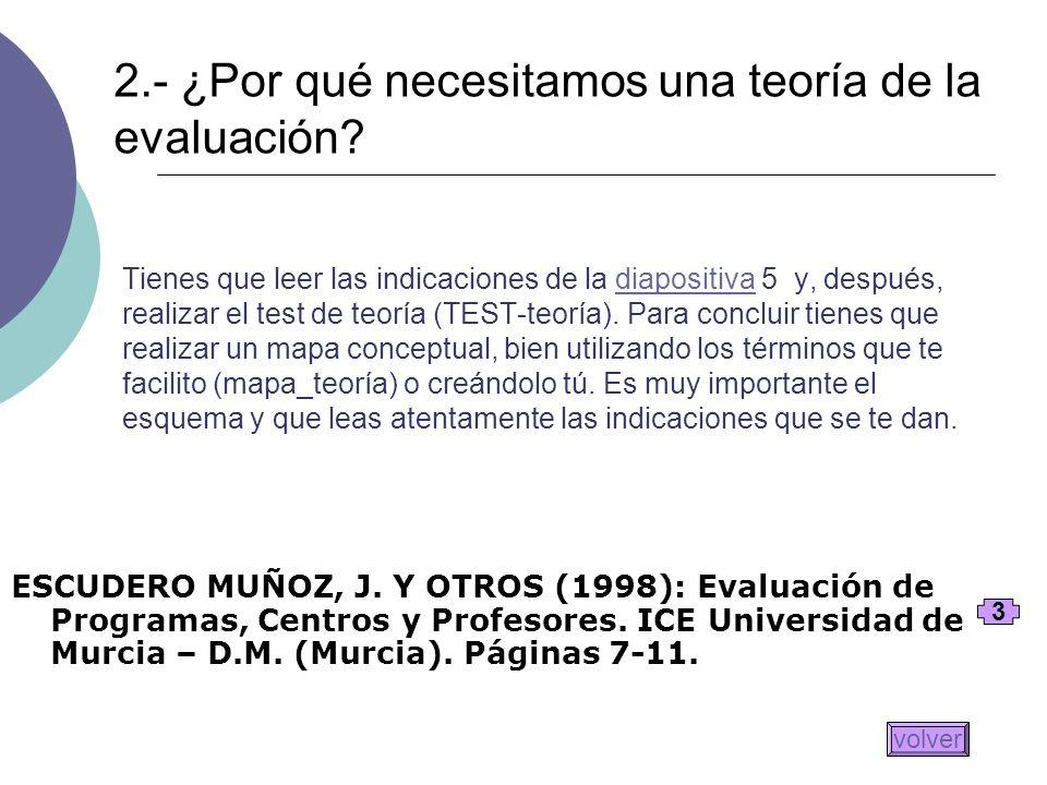 2.- ¿Por qué necesitamos una teoría de la evaluación
