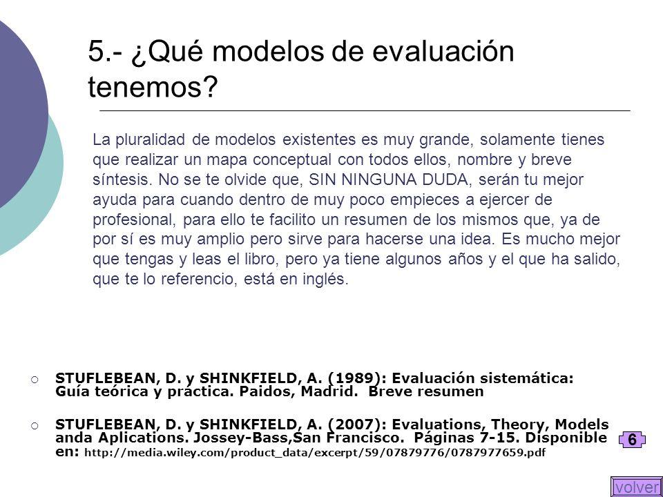 5.- ¿Qué modelos de evaluación tenemos