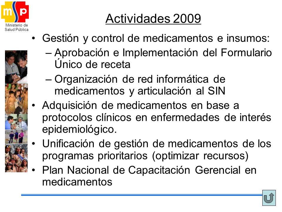 Actividades 2009 Gestión y control de medicamentos e insumos: