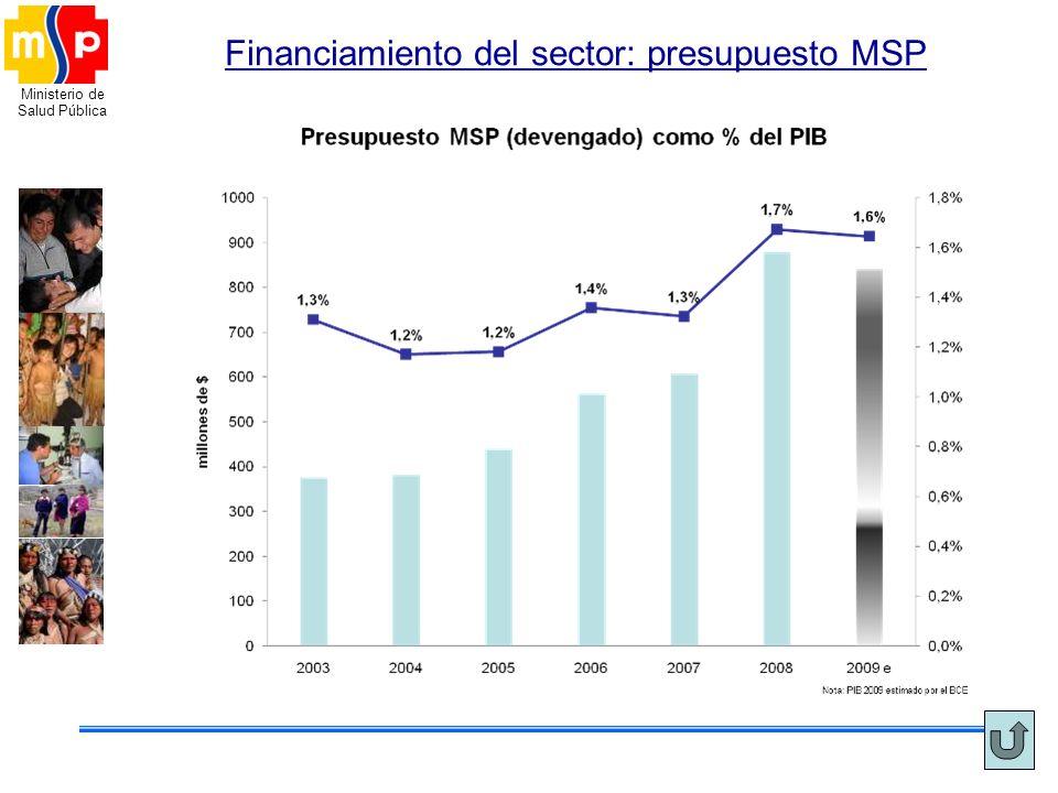 Financiamiento del sector: presupuesto MSP