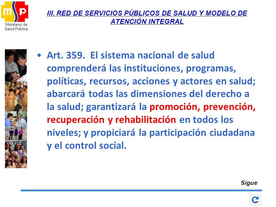 III. RED DE SERVICIOS PÚBLICOS DE SALUD Y MODELO DE ATENCIÓN INTEGRAL