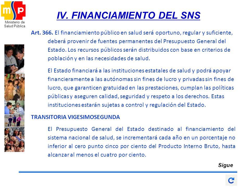 IV. FINANCIAMIENTO DEL SNS