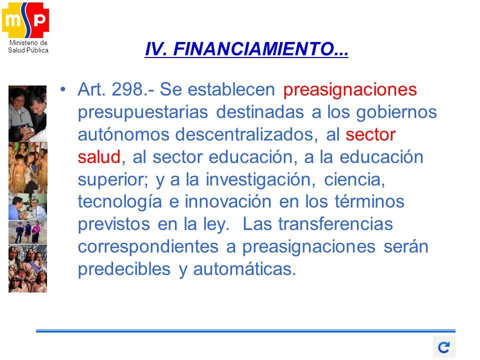 IV. FINANCIAMIENTO...