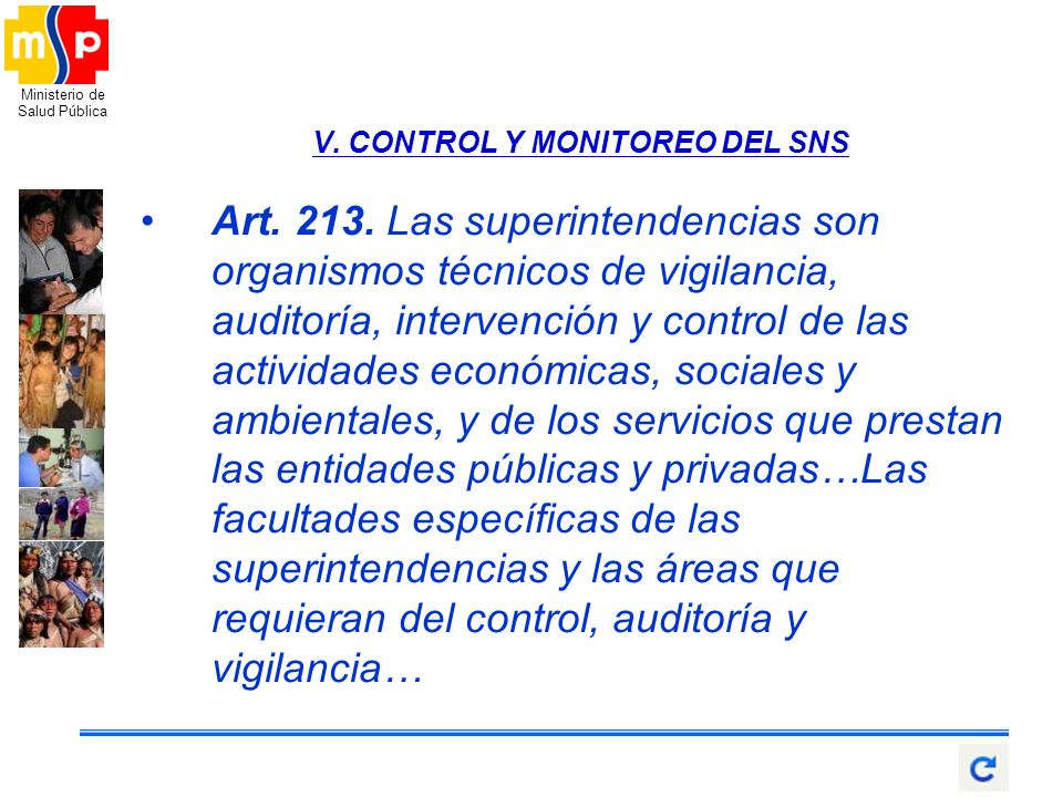 V. CONTROL Y MONITOREO DEL SNS