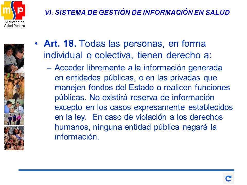 VI. SISTEMA DE GESTIÓN DE INFORMACIÓN EN SALUD