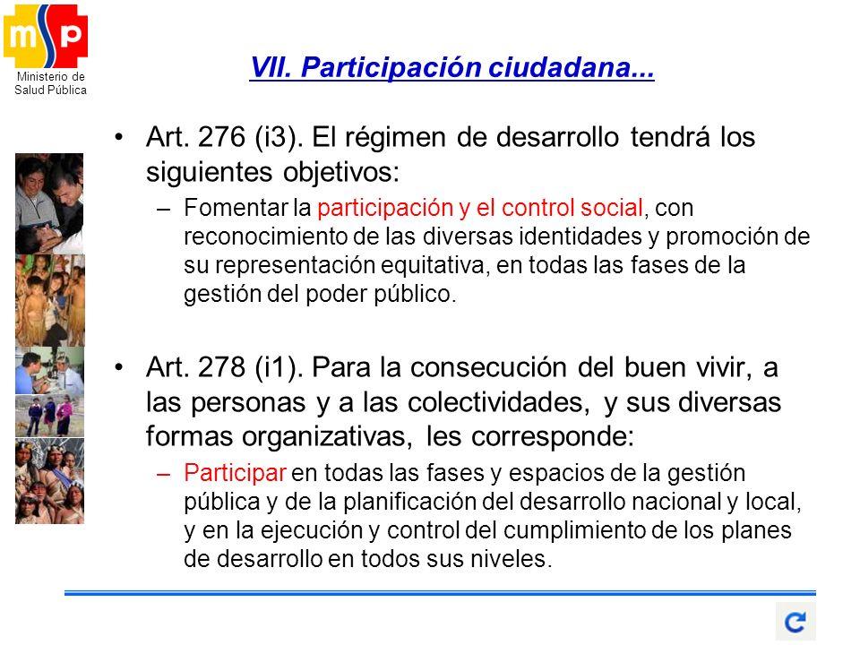 VII. Participación ciudadana...