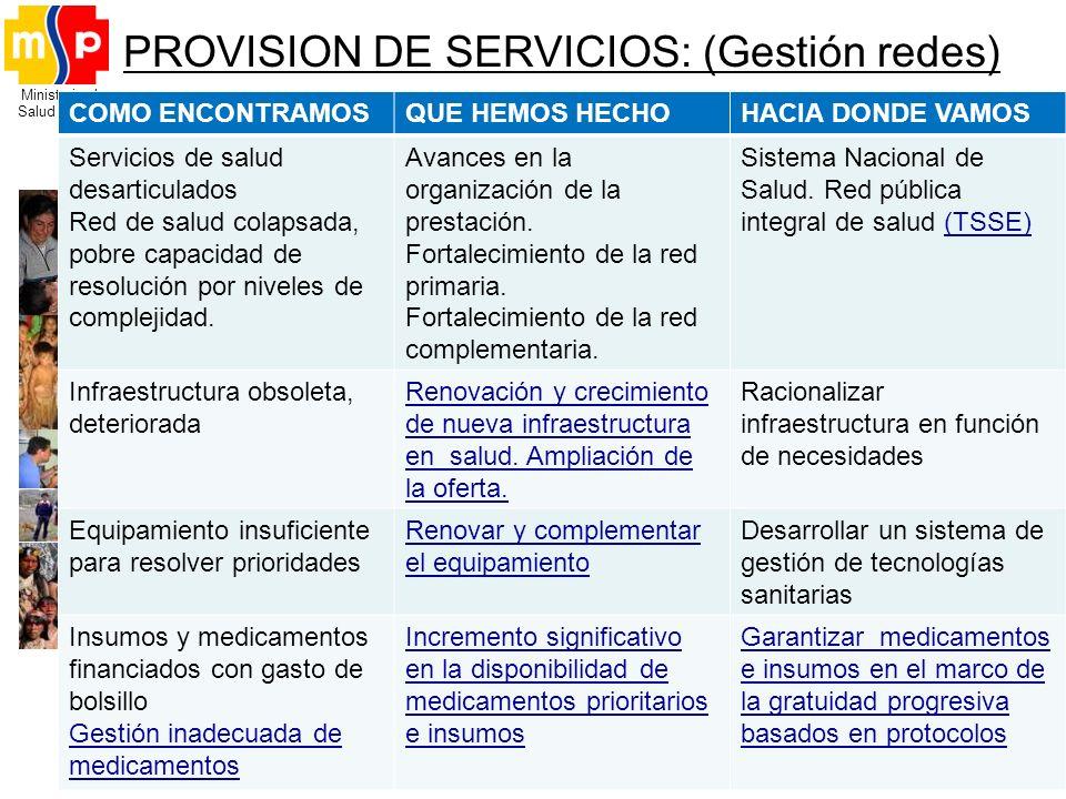 PROVISION DE SERVICIOS: (Gestión redes)