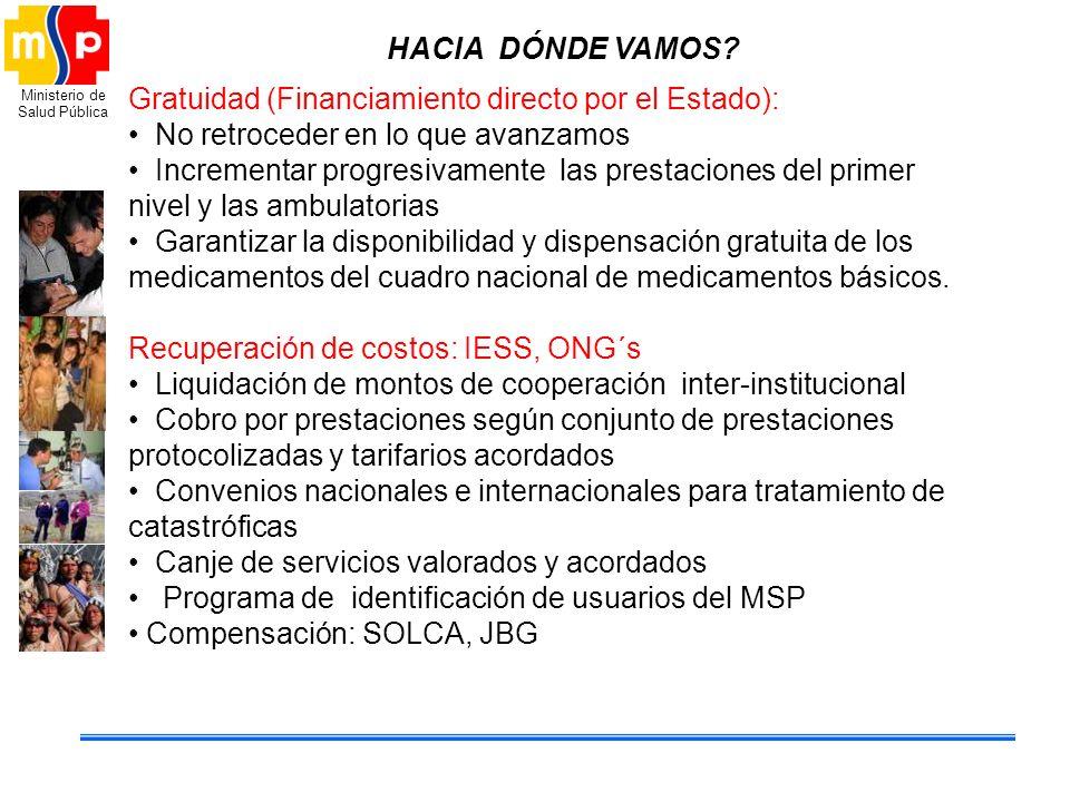 HACIA DÓNDE VAMOS Gratuidad (Financiamiento directo por el Estado): No retroceder en lo que avanzamos.