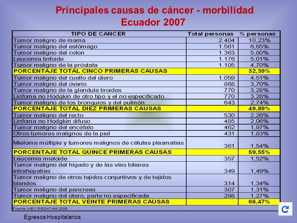 Principales causas de cáncer - morbilidad