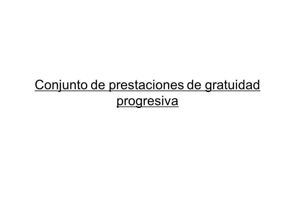 Conjunto de prestaciones de gratuidad progresiva
