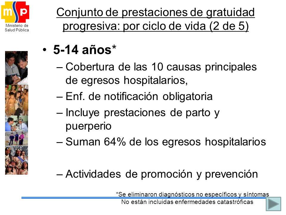 Conjunto de prestaciones de gratuidad progresiva: por ciclo de vida (2 de 5)