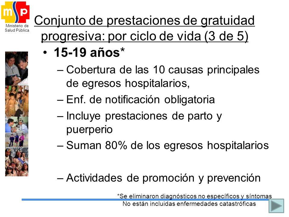 Conjunto de prestaciones de gratuidad progresiva: por ciclo de vida (3 de 5)