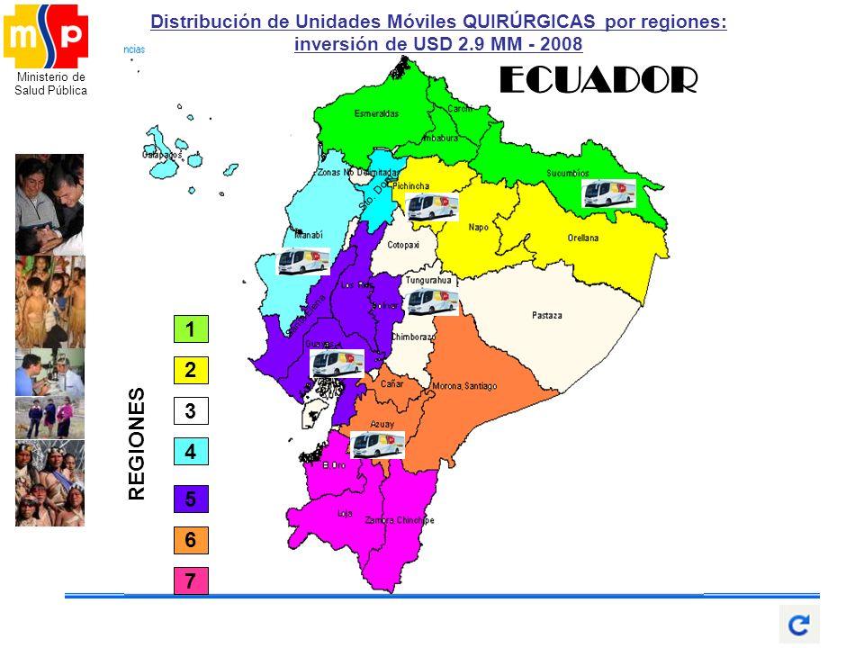 Distribución de Unidades Móviles QUIRÚRGICAS por regiones: inversión de USD 2.9 MM - 2008