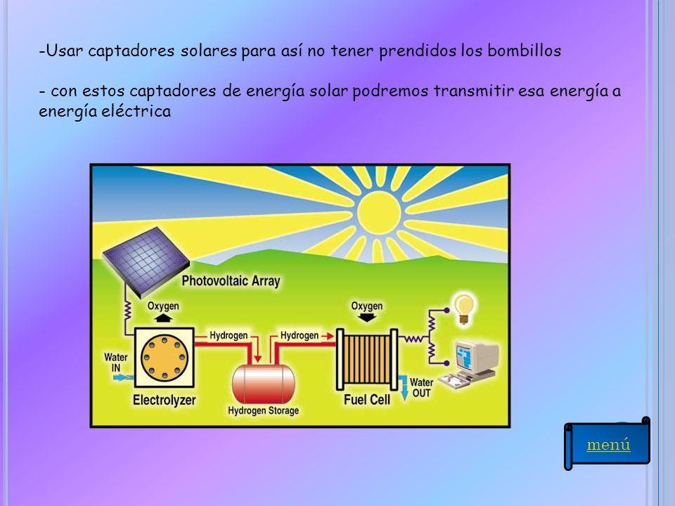 Usar captadores solares para así no tener prendidos los bombillos
