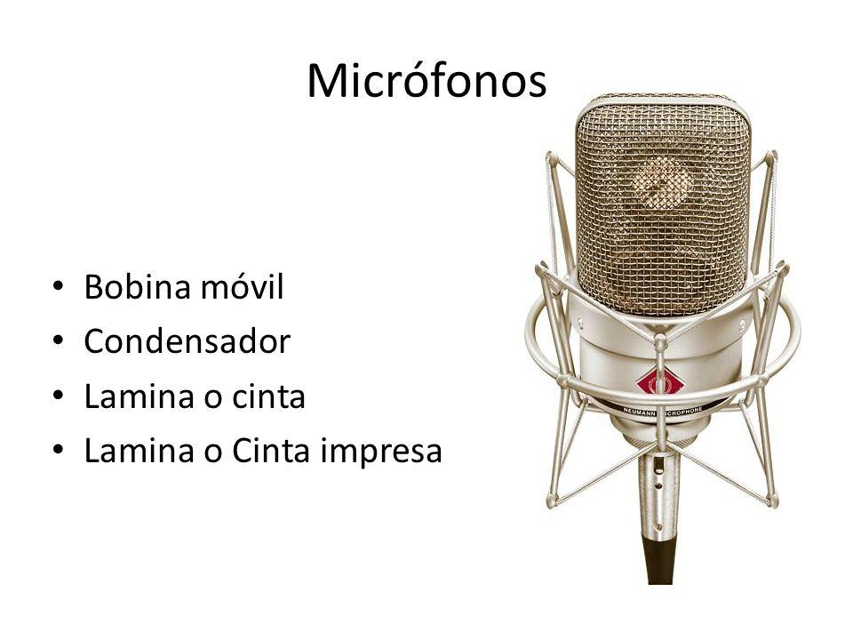 Micrófonos Bobina móvil Condensador Lamina o cinta
