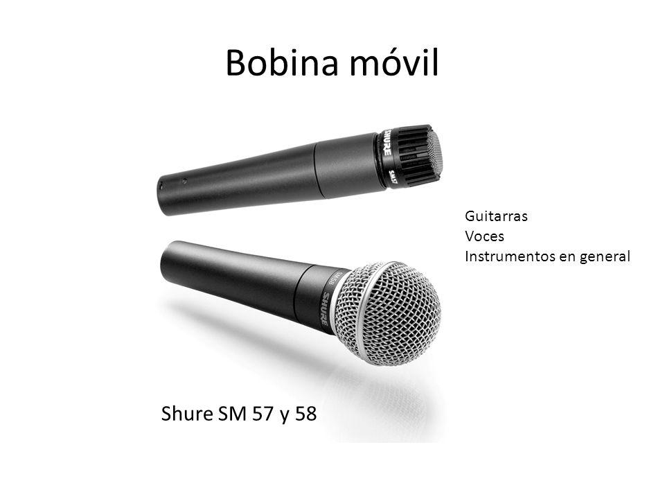 Bobina móvil Guitarras Voces Instrumentos en general Shure SM 57 y 58