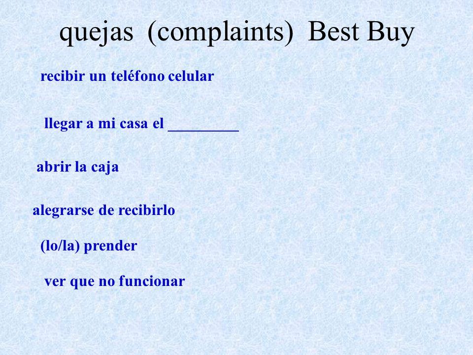 quejas (complaints) Best Buy