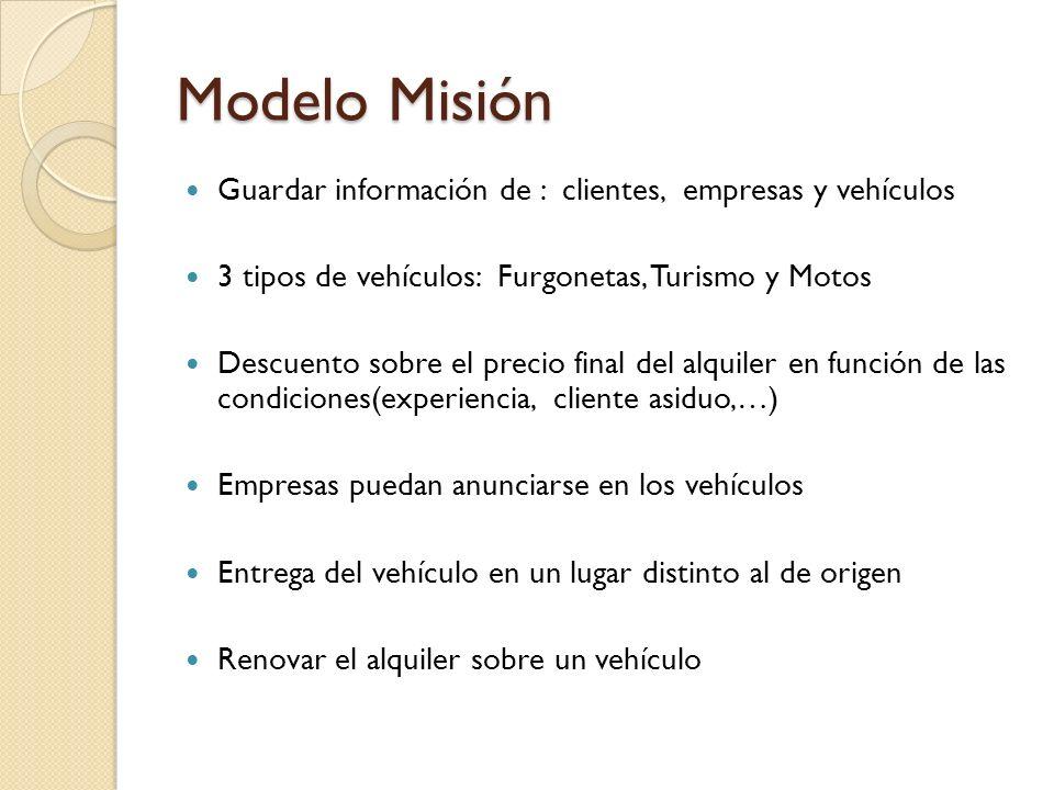 Modelo Misión Guardar información de : clientes, empresas y vehículos