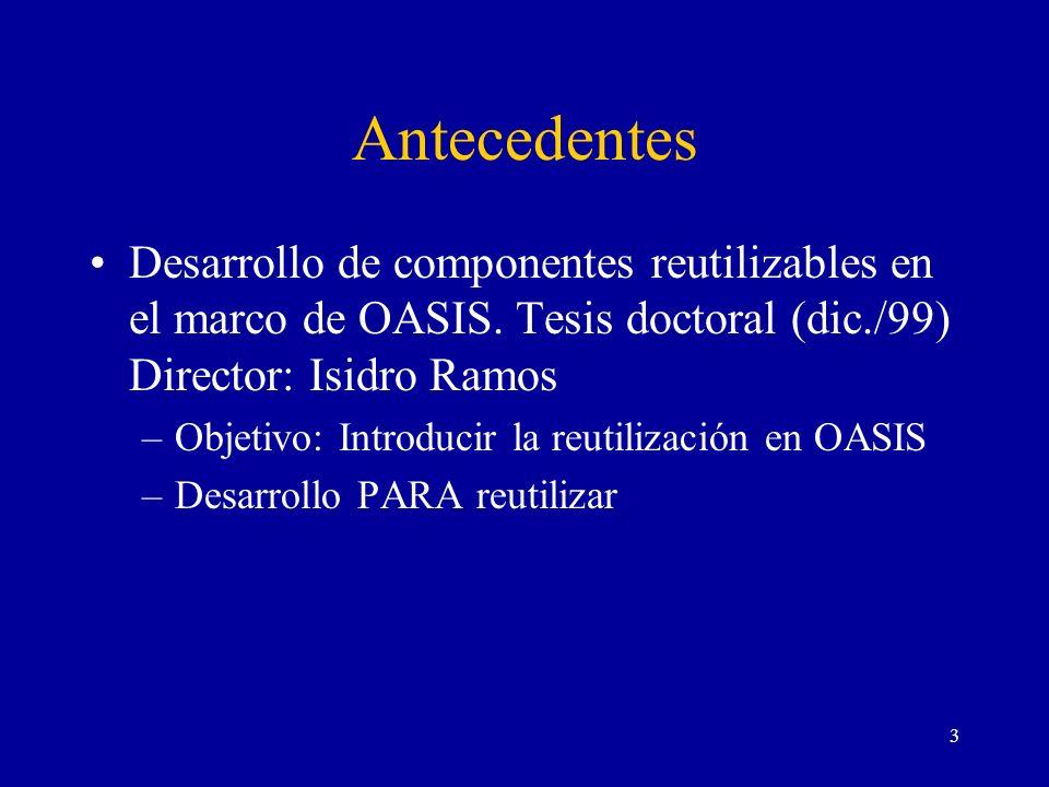 Antecedentes Desarrollo de componentes reutilizables en el marco de OASIS. Tesis doctoral (dic./99) Director: Isidro Ramos.