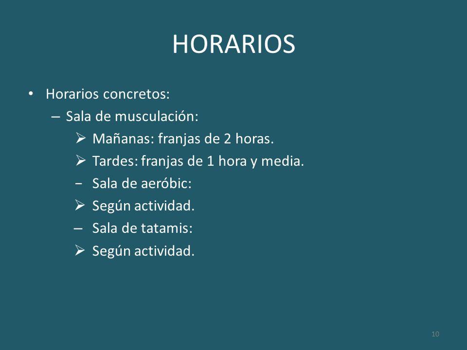 HORARIOS Horarios concretos: Sala de musculación: