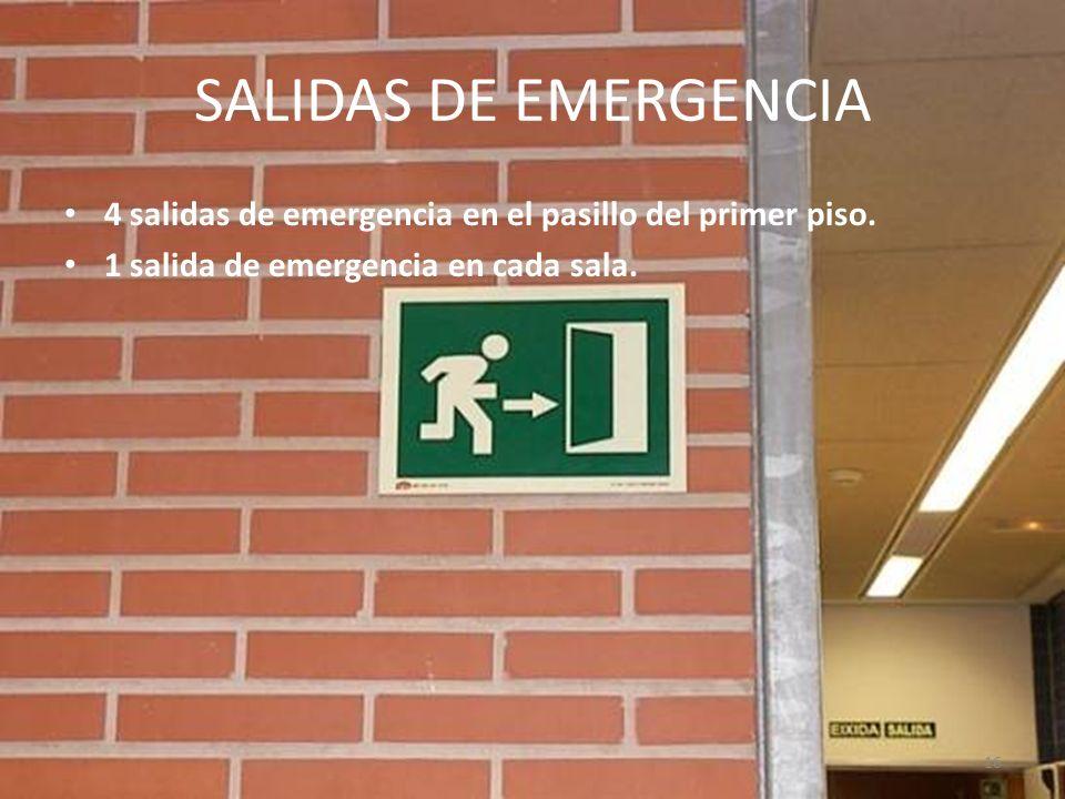 SALIDAS DE EMERGENCIA 4 salidas de emergencia en el pasillo del primer piso. 1 salida de emergencia en cada sala.