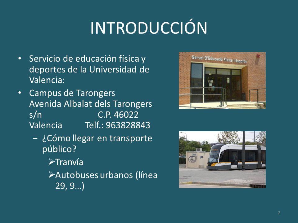INTRODUCCIÓN Servicio de educación física y deportes de la Universidad de Valencia: