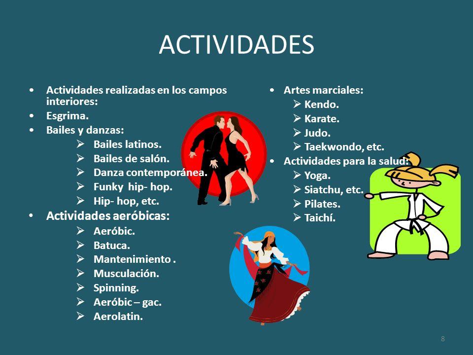 ACTIVIDADES Actividades aeróbicas:
