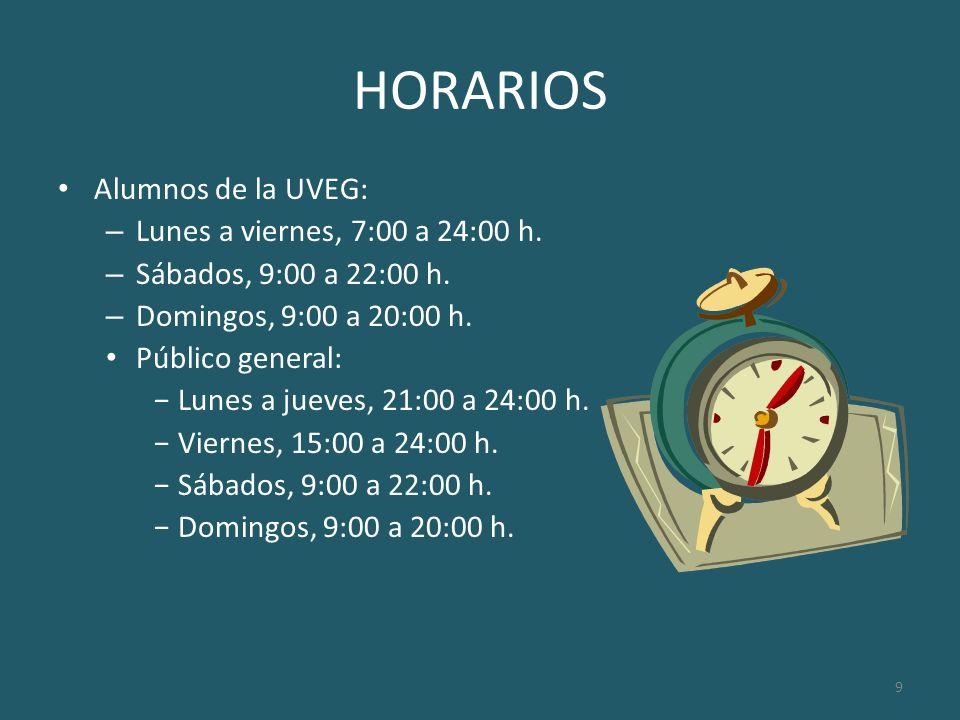 HORARIOS Alumnos de la UVEG: Lunes a viernes, 7:00 a 24:00 h.