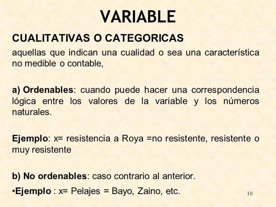 VARIABLE CUALITATIVAS O CATEGORICAS