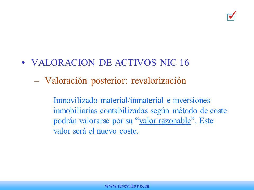 VALORACION DE ACTIVOS NIC 16 Valoración posterior: revalorización