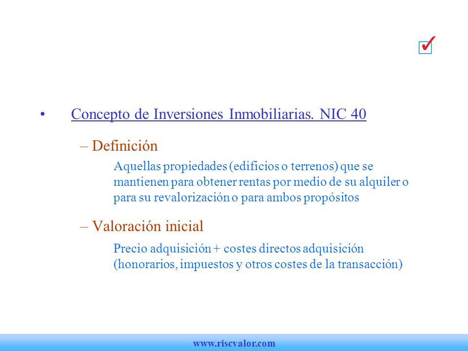 Concepto de Inversiones Inmobiliarias. NIC 40 Definición