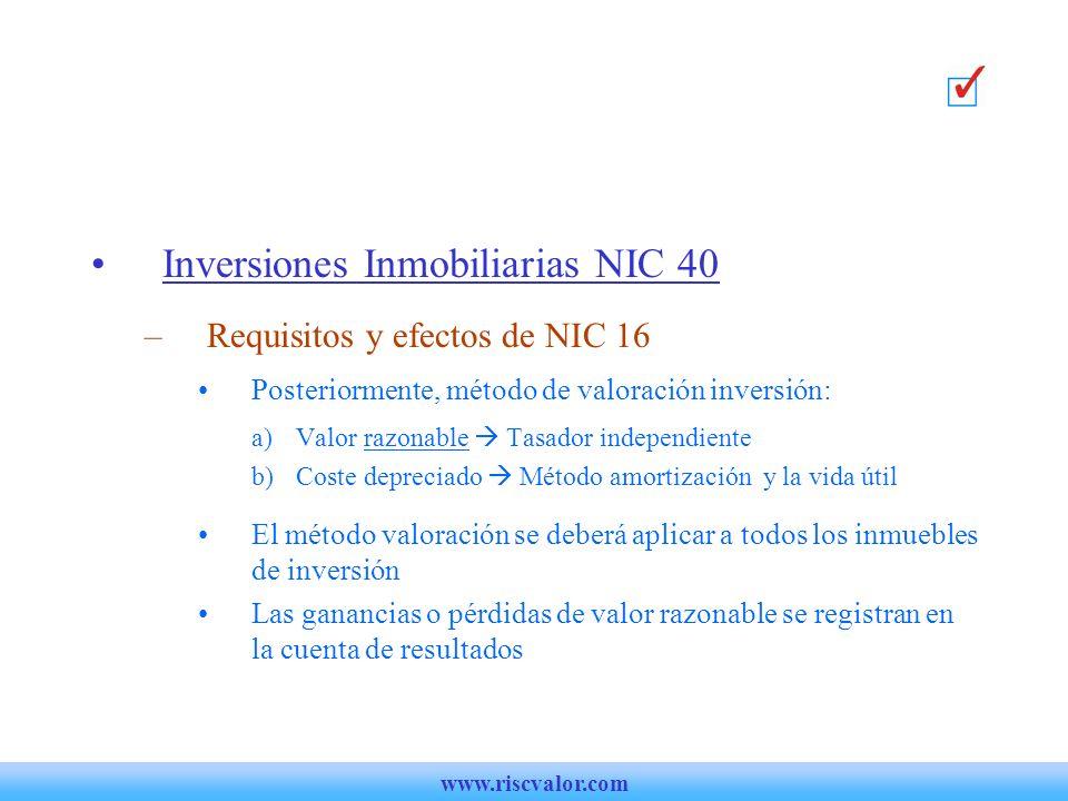 Inversiones Inmobiliarias NIC 40