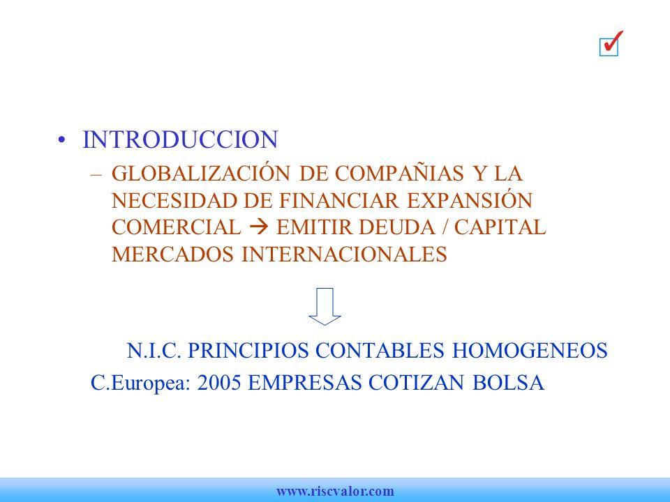 N.I.C. PRINCIPIOS CONTABLES HOMOGENEOS