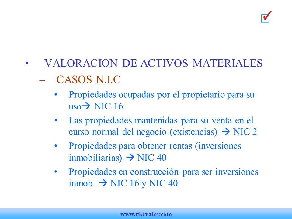 VALORACION DE ACTIVOS MATERIALES CASOS N.I.C