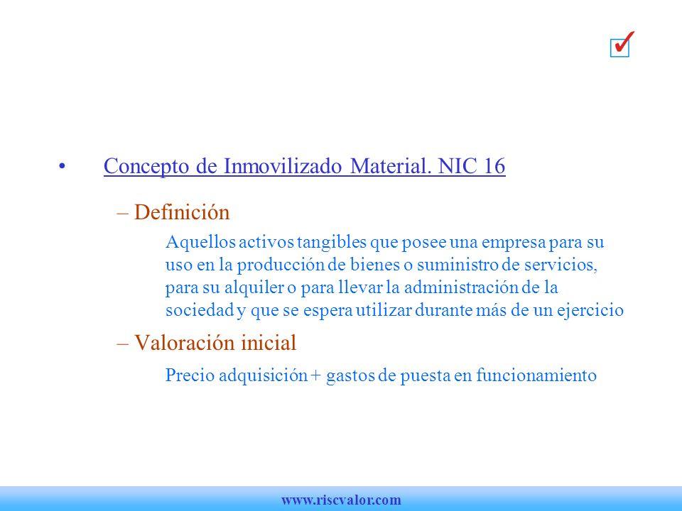 Concepto de Inmovilizado Material. NIC 16 Definición