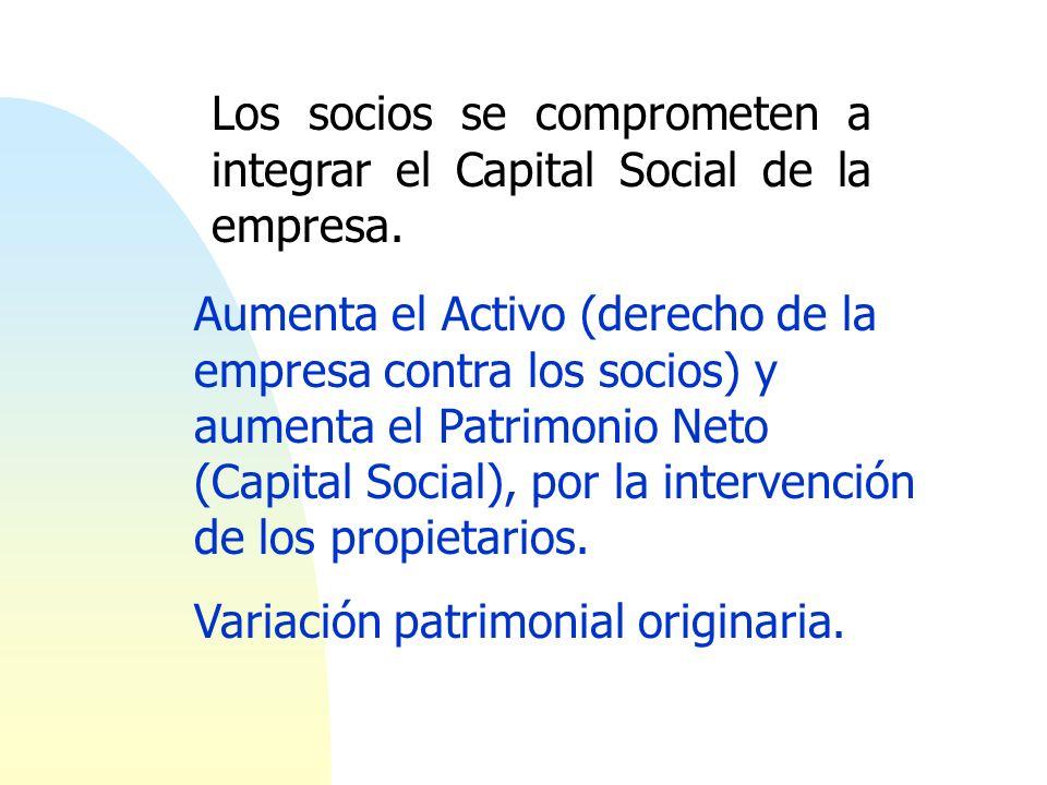 Los socios se comprometen a integrar el Capital Social de la empresa.