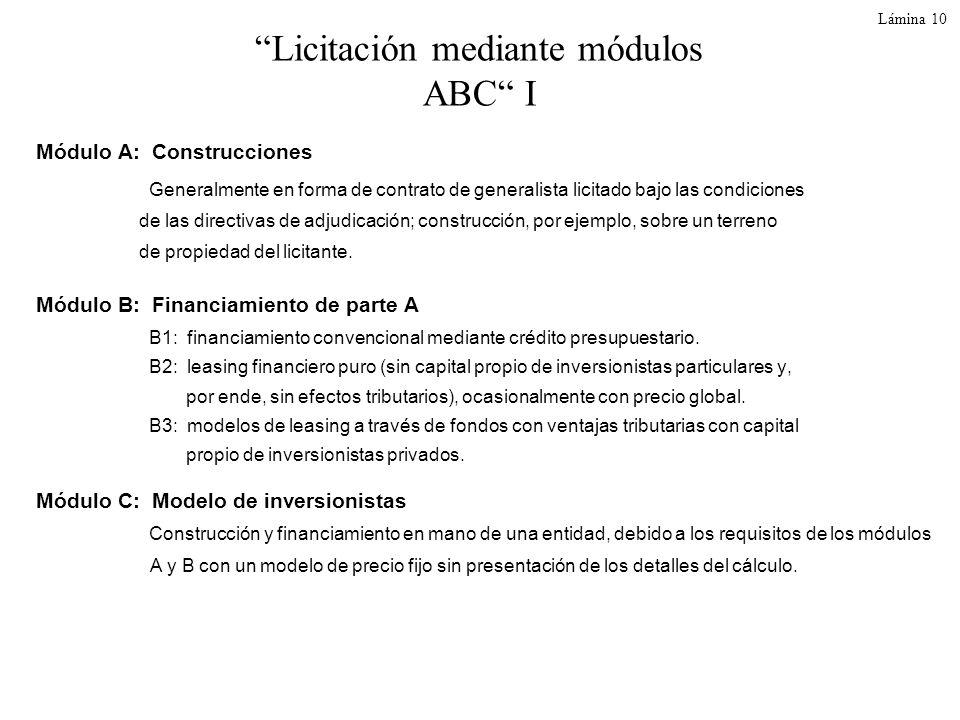 Licitación mediante módulos ABC I