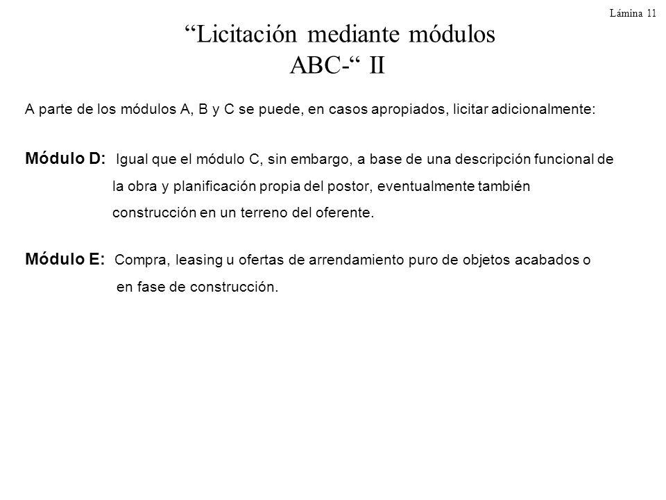 Licitación mediante módulos ABC- II
