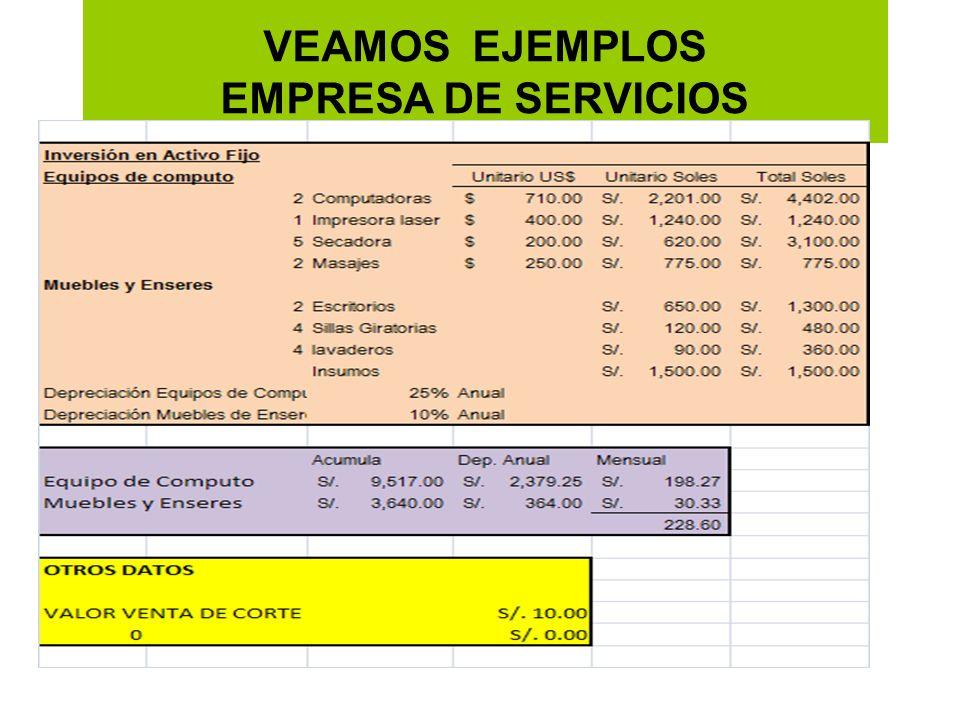 VEAMOS EJEMPLOS EMPRESA DE SERVICIOS