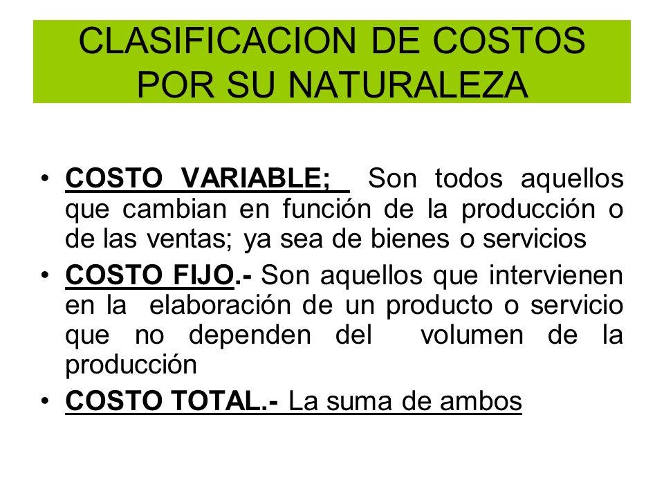 CLASIFICACION DE COSTOS POR SU NATURALEZA