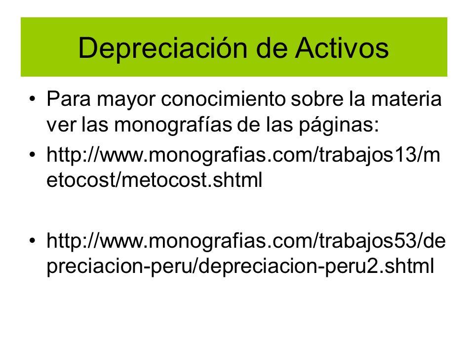 Depreciación de Activos