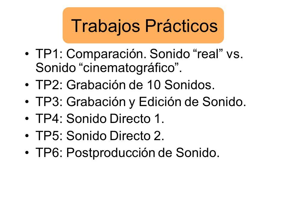 Trabajos Prácticos TP1: Comparación. Sonido real vs. Sonido cinematográfico . TP2: Grabación de 10 Sonidos.
