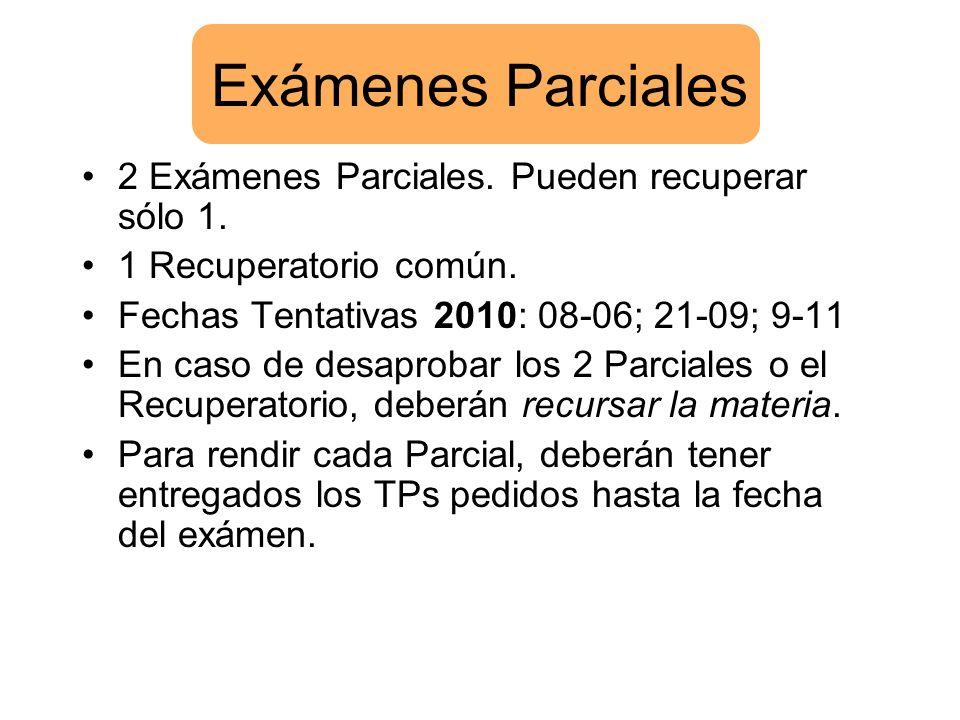 Exámenes Parciales 2 Exámenes Parciales. Pueden recuperar sólo 1.