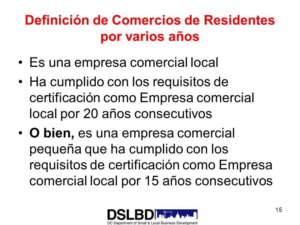 Department of small and local business development ppt for Oficina comercial definicion