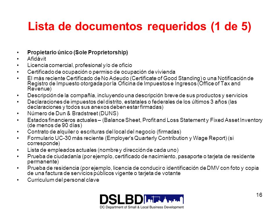 Lista de documentos requeridos (1 de 5)