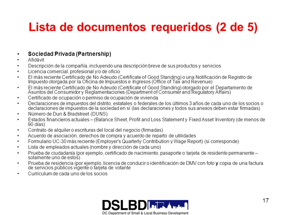 Lista de documentos requeridos (2 de 5)