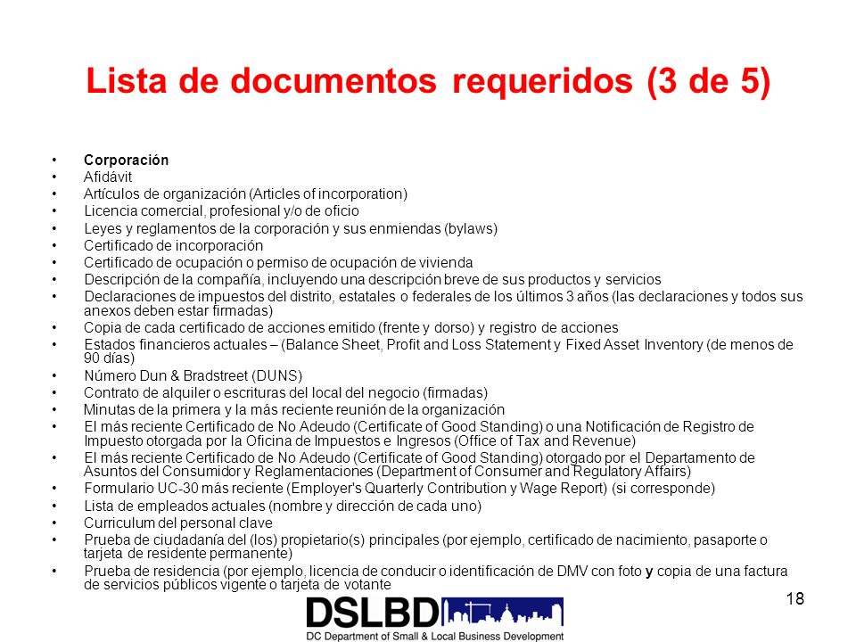 Lista de documentos requeridos (3 de 5)