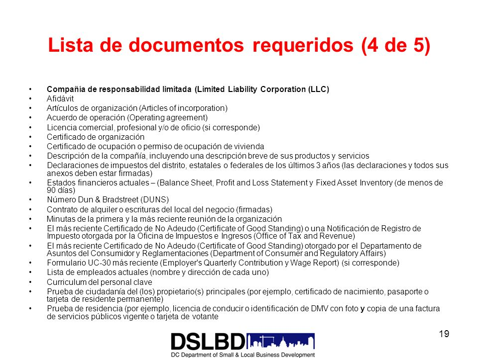 Lista de documentos requeridos (4 de 5)
